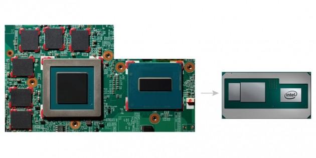 CPU, GPU e chip GDDR5 (sinistra), unico package con CPU, GPU e HBM2 (destra).