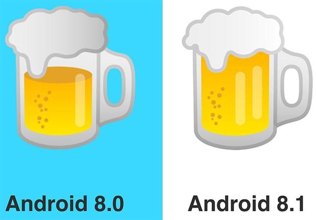 Anche l'emoji della birra ha un nuovo design in Android 8.1 Oreo