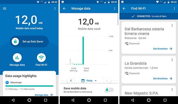 Screenshot per l'applicazione Datally di Google, disponibile in download gratuito per Android, utile per monitorare e risparmiare il traffico dati