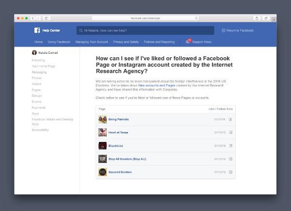 Facebook, più trasparenza sulle attività russe