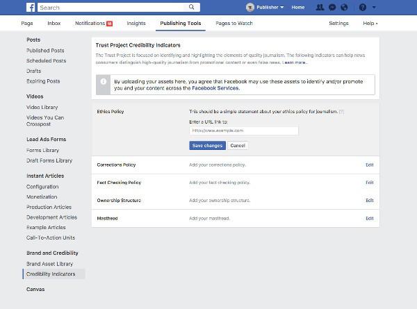 Facebook, indicatore di fiducia per gli articoli