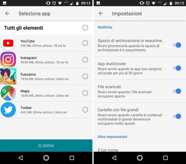 Screenshot per l'interfaccia di Files Go, nuovo file manager per Android sviluppato da Google