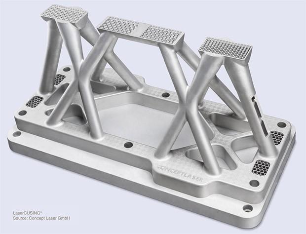 Una componente realizzata con la stampante 3D di General Electric