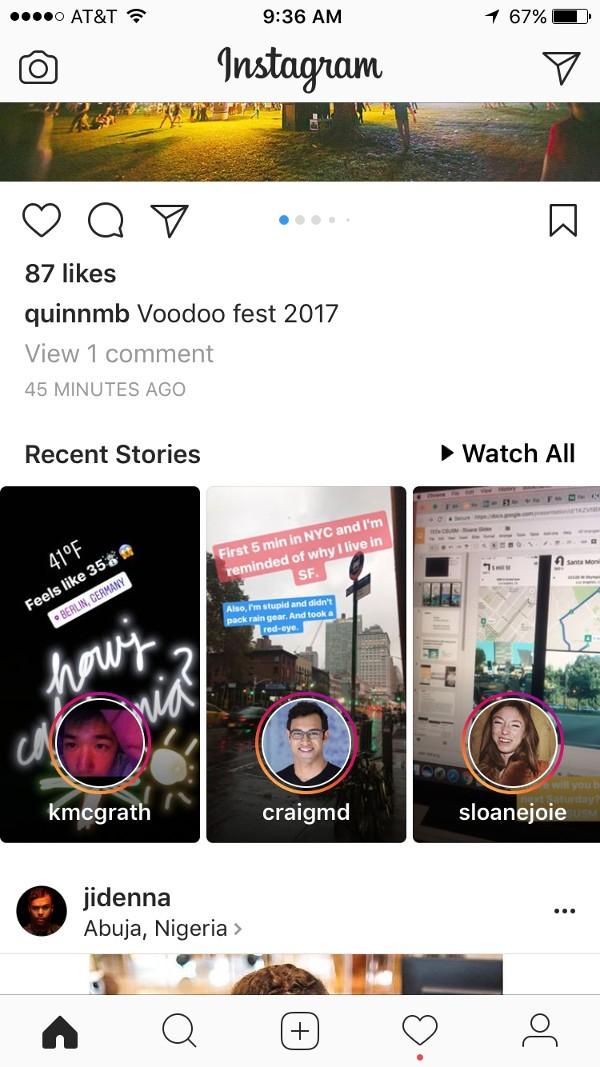 Instagram, anteprima delle Storie