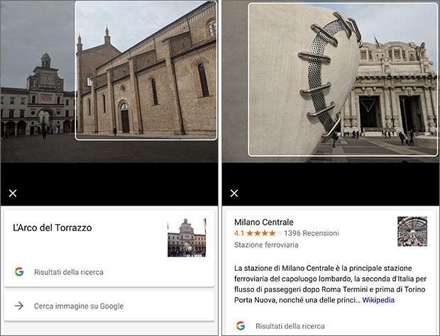 Google Lens analizza le immagini e ne identifica in modo del tutto automatico il contenuto, fornendo così all'utente informazioni dettagliate e coerenti
