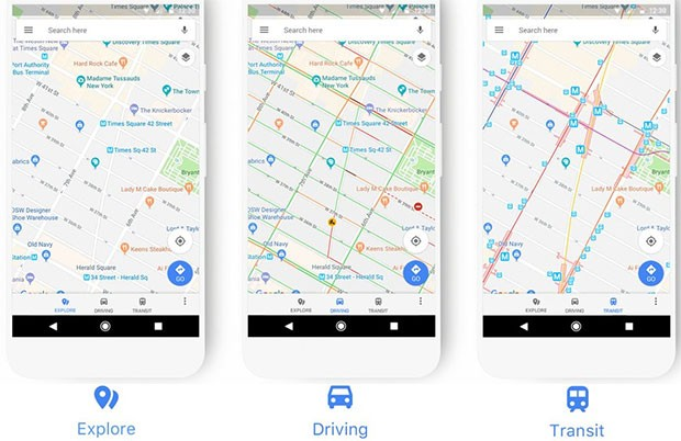 Il nuovo look dell'app di Google Maps