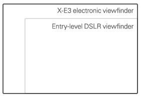 Le dimensioni del mirino elettronico della Fujifilm X-E3 a confronto con quelle delle unità montate su una DSLR entry level