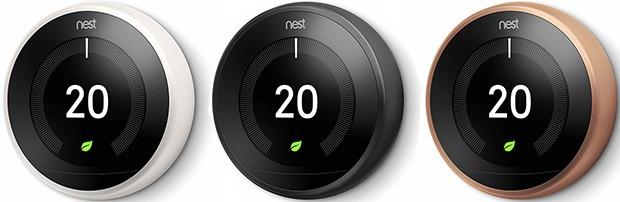 Nest Learning Thermostat nelle colorazioni bianco, nero e rame