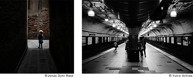 A sinistra una fotografia di Jonas Dyhr Rask realizzata con la modalità Classic Chrome, a destra uno scatto di Yukio Uchida ottenuto con la modalità Acros
