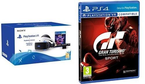 Il bundle contenente il visore PlayStation VR per la realtà virtuale, la PS Camera, il titolo VR Worlds e la simulazione automobilistica Gran Turismo Sport