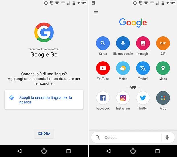 Screenshot per l'interfaccia dell'applicazione Google Go in italiano