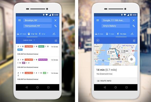 Screenshot per l'applicazione Google Maps Go in esecuzione su smartphone Android