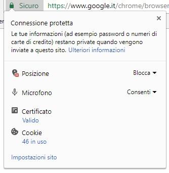 Il menu che mostra le informazioni di sicurezza per il sito visitato