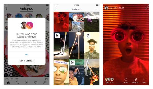 Instagram, le Storie si possono archiviare