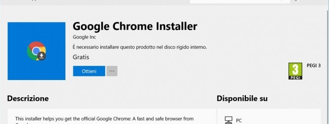 Windows 10, Chrome arriva nel Microsoft Store