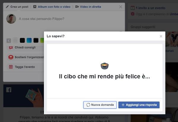 Facebook ha una domanda per te