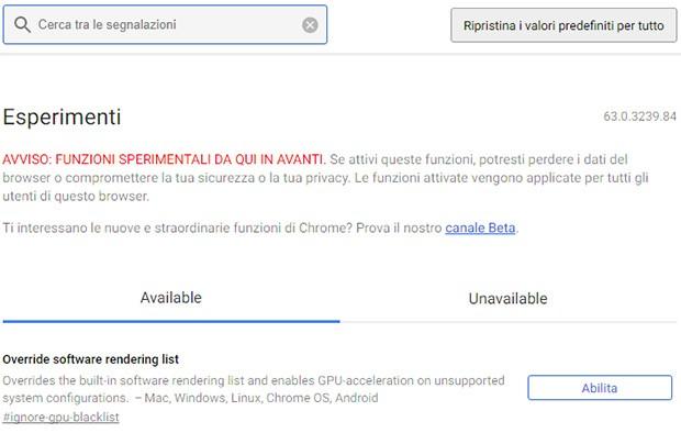 Il nuovo look della pagina chrome://flags introdotta in Chrome 63