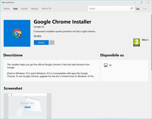 Windows 10, Chrome arriva nel Microsoft Store