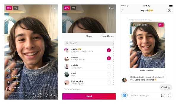 Instagram, i Live Video si inviano con Direct