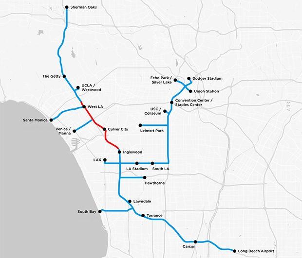 La mappa dei tunnel che la società di Elon Musk vorrebbe realizzare nel sottosuolo di Los Angeles per risolvere il problema del traffico
