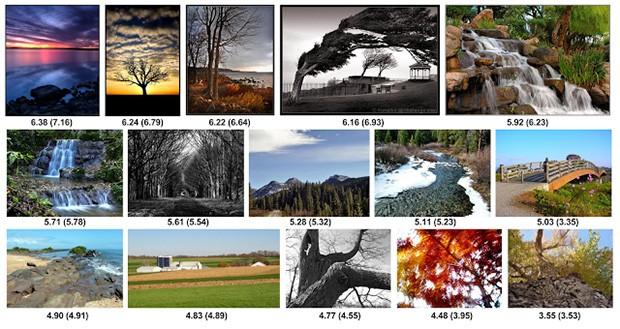 Il rating assegnato da NIMA a immagini di vario tipo