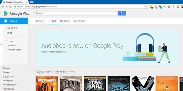 Un banner annuncia l'arrivo degli audiolibri sulla piattaforma Google Play