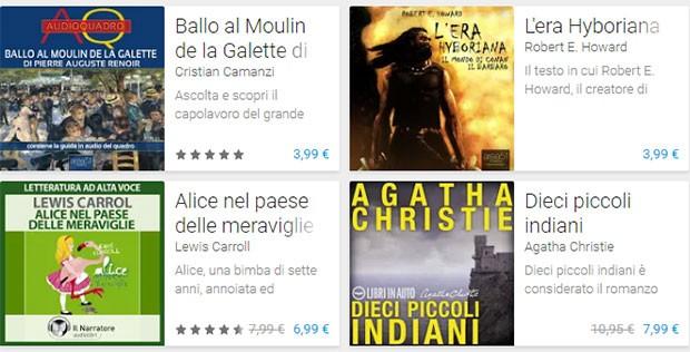 Alcuni dei primi audiolibri in italiano offerti da Google sulla piattaforma Play Store