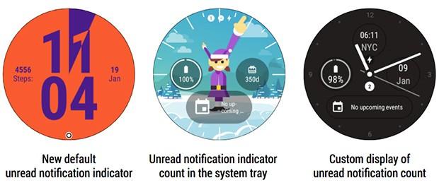 Gli indicatori per le notifiche non lette nell'interfaccia di Android Wear, introdotte con l'aggiornamento alla versione 2.9 del sistema operativo
