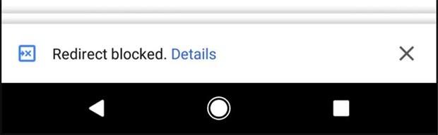 La versione mobile del browser Chrome blocca gli iframe che effettuano un redirect automatico e non autorizzato, così da migliorare l'esperienza di navigazione, mostrando all'utente un avviso di questo tipo