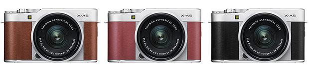Le tre colorazioni delle finiture per il corpo macchina della Fujifilm X-A5: Brown, Pink e Silver