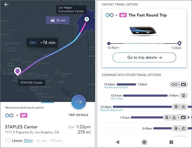 L'applicazione di Virgin Hyperloop One, realizzata in collaborazione con HERE