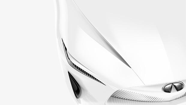 Un dettaglio della carrozzeria di Q Inspiration, la concept car elettrica di INFINITI presentato al North American International Auto Show di Detroit
