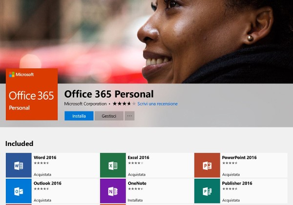Office 365 disponibile nel Microsoft Store
