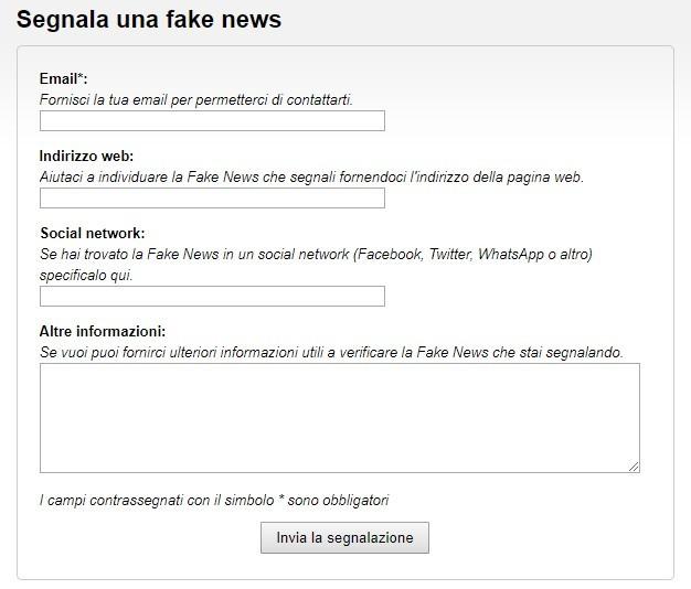 Segnala una fake news: il modulo online