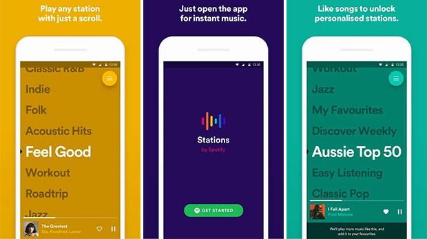 L'applicazione Stations di Spotify propone l'ascolto in streaming di playlist musicali con una modalità del tutto simile a quella della piattaforma Pandora