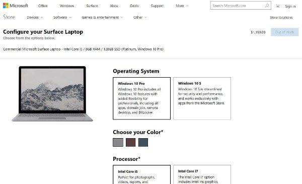 Surface Laptop anche con Windows 10 Pro