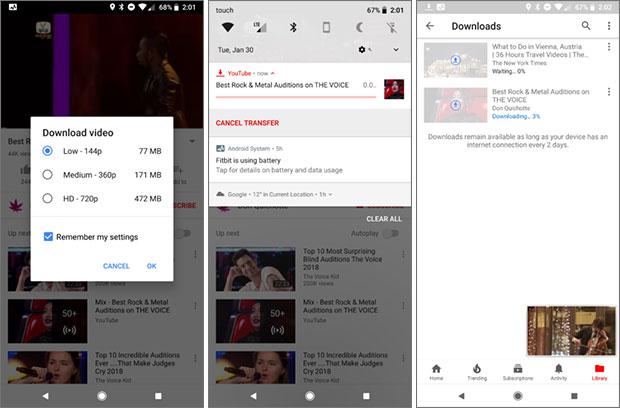La funzionalità dell'applicazione mobile di YouTube che permette di scaricare i video nella memoria interna per riprodurli in un secondo momento in modalità offline, anche in assenza di connessione