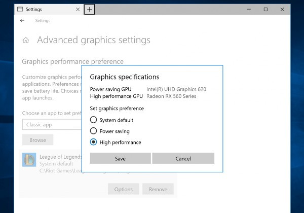 Windows 10, gestione multi GPU