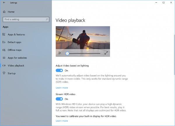 Windows 10, gestione HDR