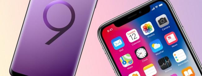 iPhone X e Samsung Galaxy S9