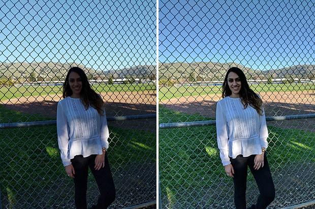 A sinistra l'immagine ottenuta senza l'intervento di Pixel Visual Core, a destra lo scatto risultante dall'impiego del co-processore