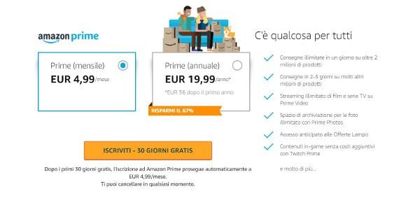 Amazon Prime aumenta di prezzo in Italia
