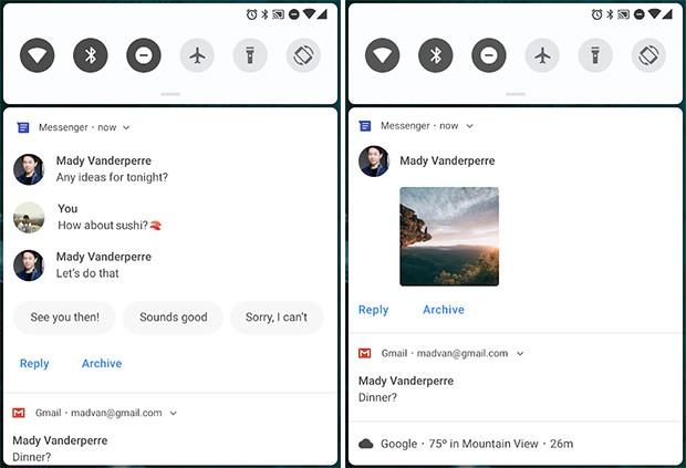 La nuova visualizzazione delle notifiche per i messaggi ricevuti in Android P