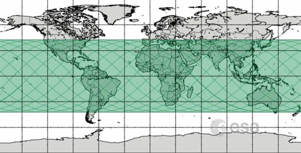 Le possibili aree del pianeta interessate dal rientro di Tiangong-1