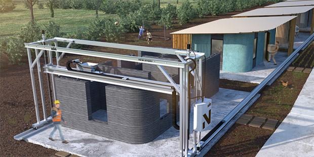 Un render mostra la stampante Vulcan all'opera per la realizzazione di moduli abitativi a basso costo