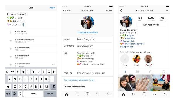 Instagram, hashtag e link nei profili