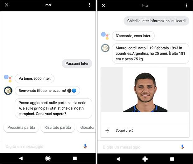 Tra le prime applicazioni di terze parti in italiano a supportare Actions on Google c'è anche quella ufficiale dell'Inter, per ottenere informazioni sui calciatori, sulle partite in programma e sulla classifica