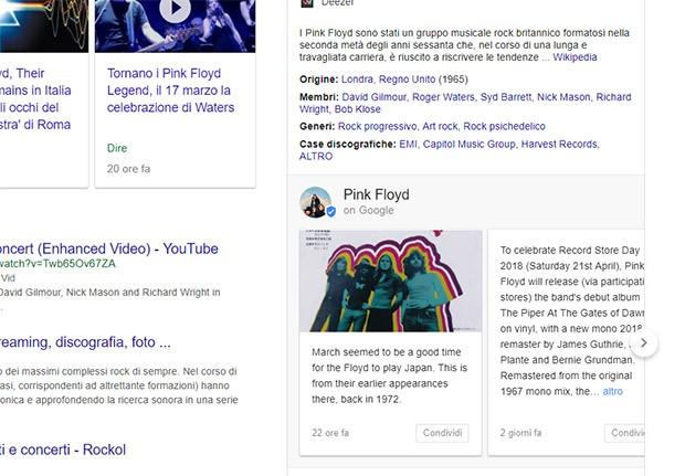 Lo stesso avviene anche effettuando una ricerca su band o musicisti tramite browser desktop