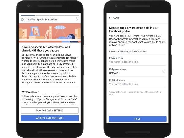 Facebook, gestione delle informazioni del profilo