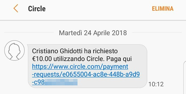 Circle Pay: il messaggio visualizzato dal destinatario in caso di richiesta di denaro a una persona che non ha installato l'applicazione